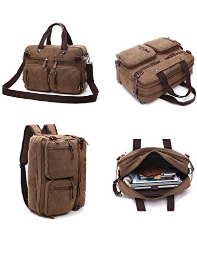 3-Way Convertible Briefcase Laptop Backpack Messenger Bag Backpack for Man Women (BROWN)