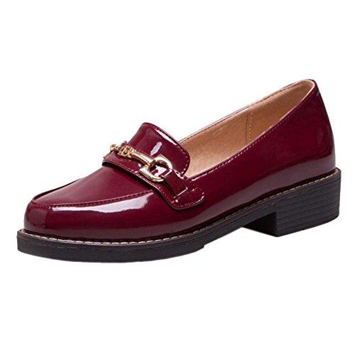 de Zapatos TAOFFEN bajo Claret tacón para mujer 1Hwqc5fw