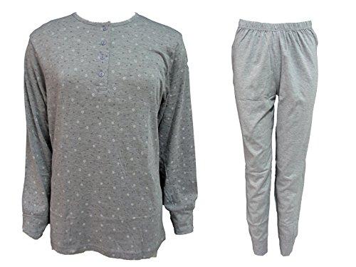 pigiama cotone donna 4517 collezione oversize calibrato lungo nuova art in Grigio KAREL WIIOr7q