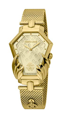 ROBERTO CAVALLI Women's Swiss Quartz Watch with Gold Tone Strap, 20 (Model: RV1L095M0086)