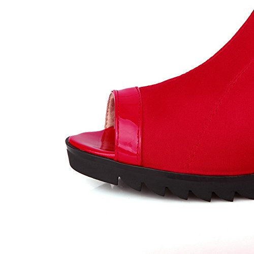 Amoonyfashion Kvinnor Pull-on Peep-toe Kattunge-klackar Blanda Material Fasta Sandaler Röda