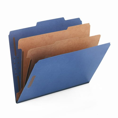 2' Capacity Prong Fasteners (Smead Products - Smead - Pressboard Classification Folders, Letter, 6-Section, Dark Blue, 10/Box - Sold As 1 Box - SafeSHIELD™ coated fastener technology - Feature 2