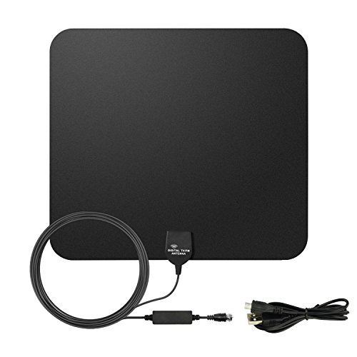 E-More Indoor HDTV Antenna Amplified HDTV Antenna 50Miles Long Range VHF UHF Amplifier Signal Booster with USB PowerSupply and 16.4ft High Performance Coax Cable
