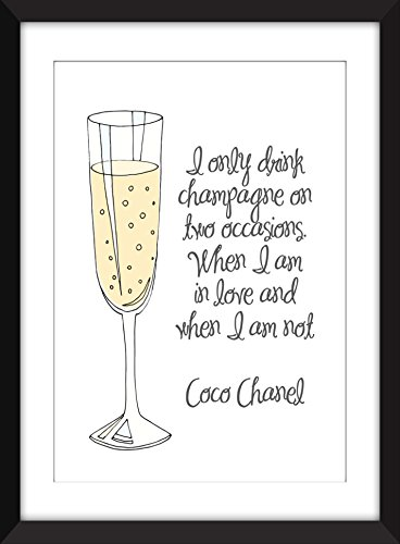 Coco Chanel Champagne Quote Unframed - Chanel Glasses Frames