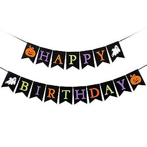 Best Epic Trends 412C-fxVrML._SS300_ Black Halloween Happy Birthday Banner- Halloween Birthday Party Decorations,1st Birthday Halloween,Happy Birthday…