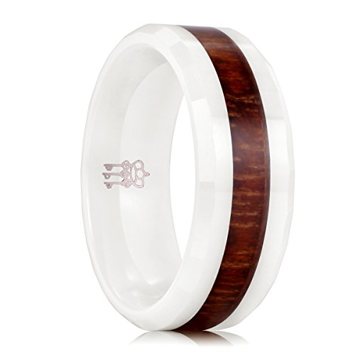 THREE KEYS JEWELRY 8mm White Ceramic Wedding Ring with Koa Wood Inlay Men's Women's Wedding Band Engagement Ring Flat Top Bevel Edge Comfort Fit Size 11.5