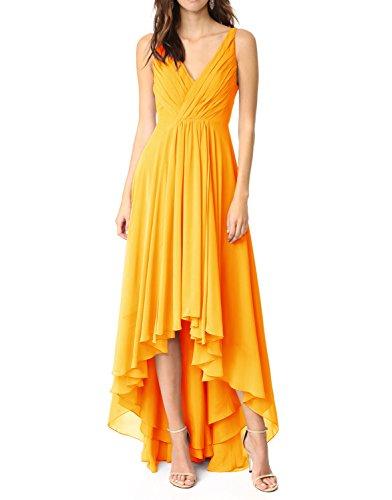 e92f538cbc69d Udresses Womens 2017 Hi-Low Chiffon Bridesmaid Dress Beach Wedding V-Neck  PR470 Dark Yellow 4