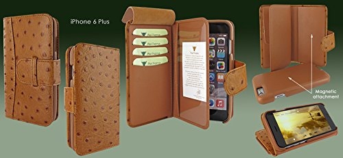 Piel Frama 717 Tan Ostrich WalletMagnum Leather Case for Apple iPhone 6 Plus / 6S Plus by Piel Frama (Image #6)