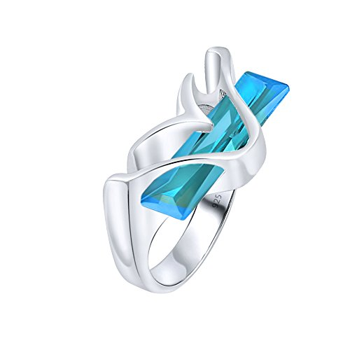 Modern Ring Designs (Women's Sterling Silver .925 Modern Fancy Design Ring Featuring a Light Blue Aquamarine Tone Elongated Rectangle Cubic Zirconia (CZ) Stone, Platinum Plated)