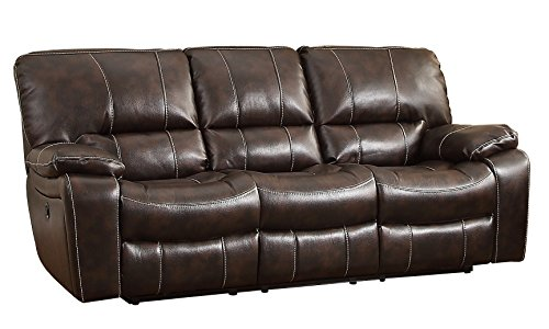 Homelegance 8435-3PW Transitional Design Power Motion Reclining Sofa Dark Rich  Faux Leather, Brown