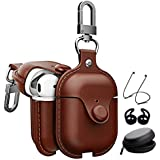 Houbox Airpods Leather Case Cover Accessories with Earbuds Protective Strap String Case Keychain Kit Compatible Apple Airpods Charging Case (Dark Brown)