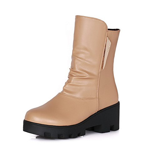 Allhqfashion Women's Pull On Round Closed Toe Kitten Heels Pu Solid Boots Apricot