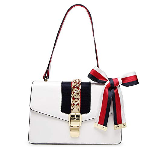 (Beatfull Mini Handbags for Women, Fashion Shoulder Bag Cross Body Bag with a Bow Tie (White))