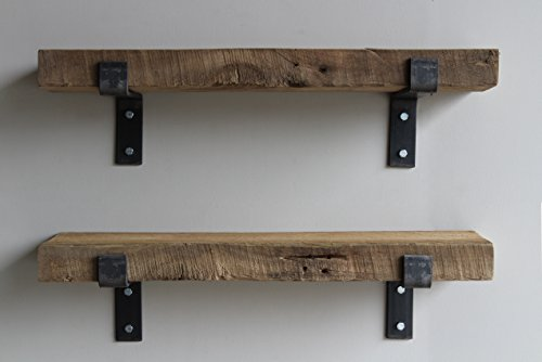 Reclaimed Wood Accent Shelves Rustic Industrial - Amish Handcrafted in Lancaster County, PA - Set of Two   24 Inches, (Genuine Salvaged/Reclaimed with Raw Metal Brackets) (Natural 24''x 7''x 2'') by Urban Legacy (Image #6)