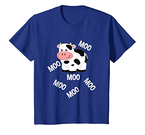 Cow Little Moo (Kids Farm Animals Cow Goes Moo T-Shirt Toddlers Little Boy & Girl 4 Royal Blue)