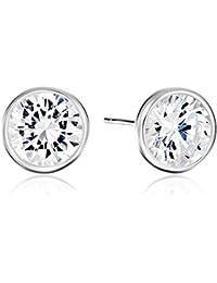 Plated Sterling Silver AAA Cubic Zirconia Bezel Stud Earrings