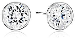 Amazon Essentials Sterling Silver AAA Cubic Zirconia Bezel Stud Earrings (8mm)