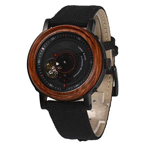 Red Sandalwood Wood Watches for Men - Minimalist Collection Automatic Wooden Wrist Watch with Premium Self-Winding Movement - Lightweight, Stylish, Durable - Men Gift Ideas