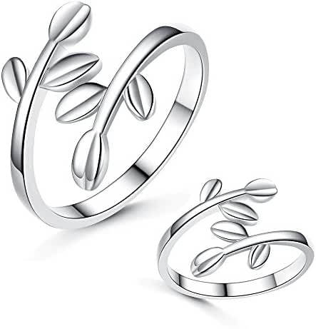 Very Feminine!Womens Silver Elegant Open Leaf Branch Wrap Finger Ring High Polished