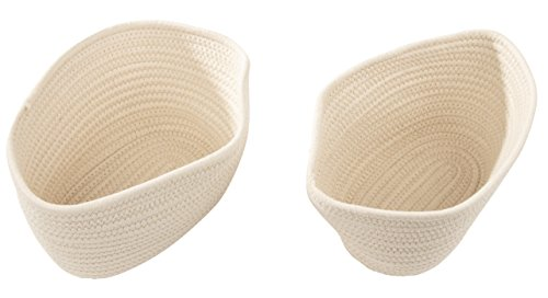 Woven Storage Baskets - 2-Pack Cotton Rope Baskets, Oval Shape Decorative Hampers, Collapsible Rope Storage Bins for Toys, Towels, Blankets, Nursery, Kids Room, 11 x 8.75 x 6.25 inches, White