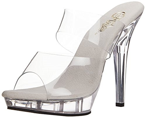 Women's 5 Inch Stiletto Heel Two-Band Platform Slide (Clear/Clear;11)