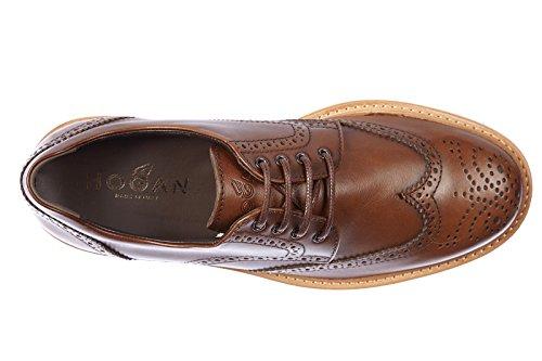 Hogan scarpe stringate classiche uomo in pelle nuove derby h 217 route marrone