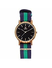 Morrivoe Mens Wood Watches 40mm Case Analog Display Japan Quartz wristwatches with Nylon Band (green)