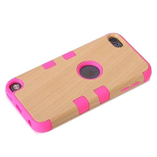 iPod Touch 5 Case génération,Touch 5 Case,Lantier Motif bois 3 en 1 en silicone souple + Disque dur hybride Armure en plastique pour couvrir les cas Appleipod Touch 5 Hot Pink