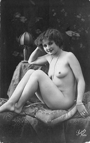 - 1910 Real Photo Postcard Risquà Topless Nude Woman in a Photo Studio~115572