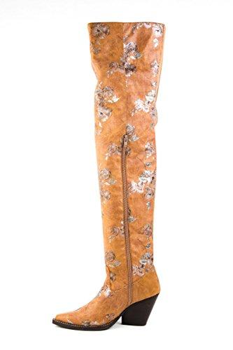 Jeffrey Campbell Damen Stiefel GATLIN OTK Overknee Gr. 37 Braun Geblümt