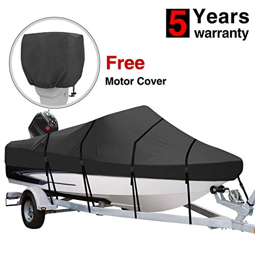 RVMasking Heavy Duty 600D Polyester Trailerable Boat Cover Black for