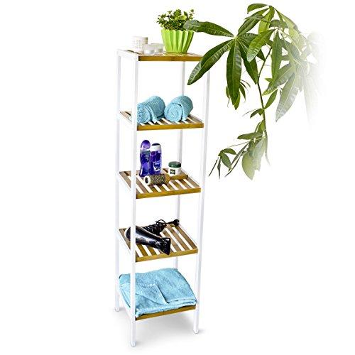 Relaxdays Bambus Regal mit 5 Fächern HBT 144 x 34,5 x 31,5 cm Schickes Badregal mit 5 Ablagen aus natürlichem Holz Standregal als Küchenregal oder Holzregal zur Aufbewahrung im Badezimmer, weiß natur