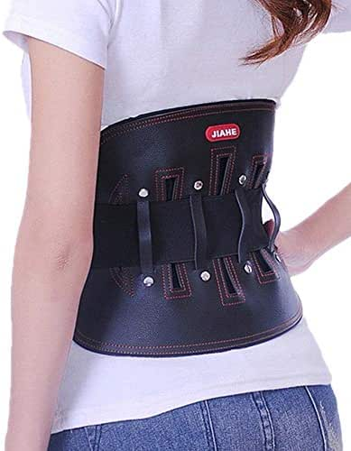 ZFF Leather Lumbar Brace Belt,Lower Back Support - for Man and Woman Herniated Disc Treatment & Pain Relief,Work/Gym (Size : XXL)