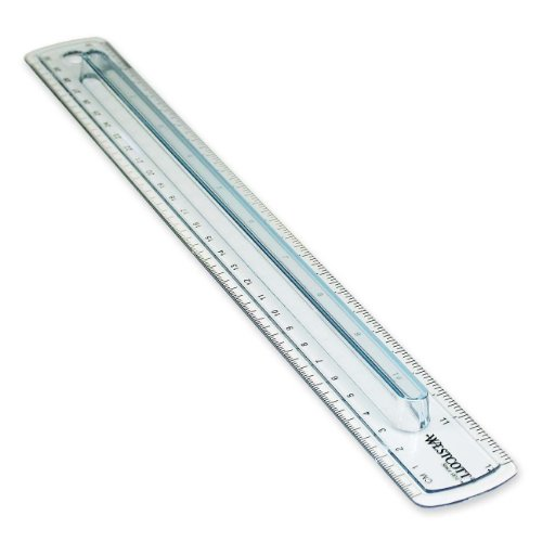 Westcott Finger Grip Ruler, Smoke Plastic, Inches and Metric, 12-Inch  (00402) -