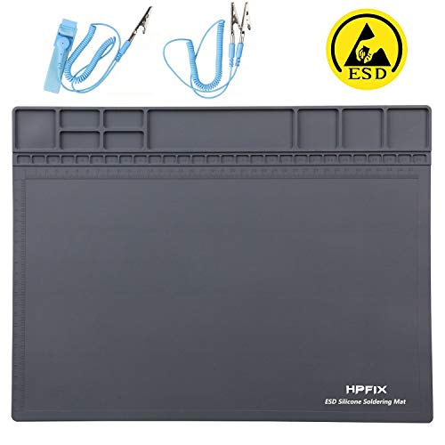 Anti-Static Mat ESD Safe for Electronic Includes ESD Wristband and Grounding Wire, HPFIX Silicone Soldering Repair Mat 932°F Heat Resistant for iPhone iPad iMac, Laptop, Computer, 15.9