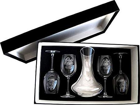 Arte-Deco DECANTADOR Y 4 Copas DE Vino, Grabados Y Personalizados con EL Escudo HERÁLDICO O Logotipo Que Usted DESEE
