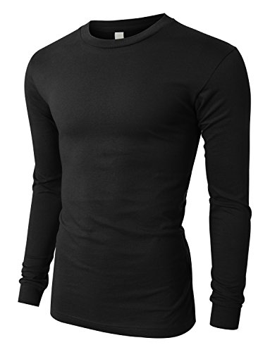 OLLIN1 PREMIUM Mens Slim Fit Long Sleeve Crew Neck Soft Jersey T Shirt