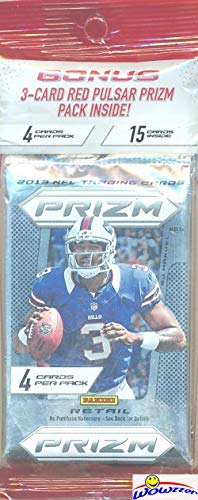 2013 Panini Prizm Football EXCLUSIVE Factory Sealed Jumbo Fat Pack with (3) Packs & Special (3) RED PULSAR PRIZMS Look for Rookie Cards & Autographs of Le'Veon Bell, Eddie Lacy, Keenan Allen & More!