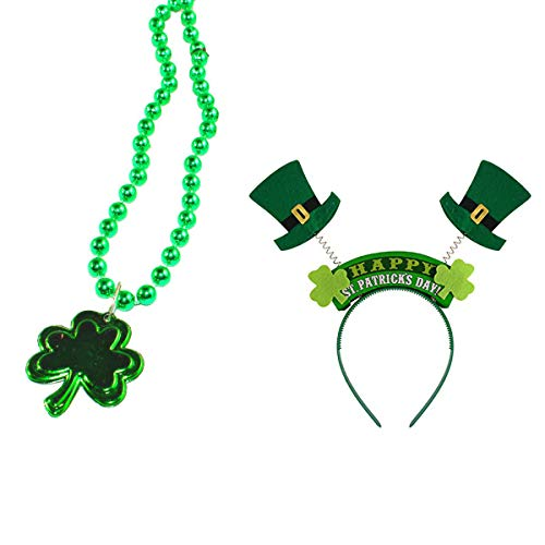 Shamrock Necklace Headband, Green Metallic Beaded Plastic Necklace with Shamrock Pendant + Leprechaun Top Hat Boppers Headband Hair Hoop 2 for Irish Party Favors Decor St Patricks Day Accessories ()