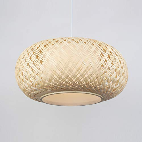 OAKLIGHTING Southeast Asia Bamboo Restaurant Pendant Light Hotel Tea Room Bird Cage Nordic Japanese Style Hanging Lamps (D 40CM H 18CM) (Lights Japanese Pendant)