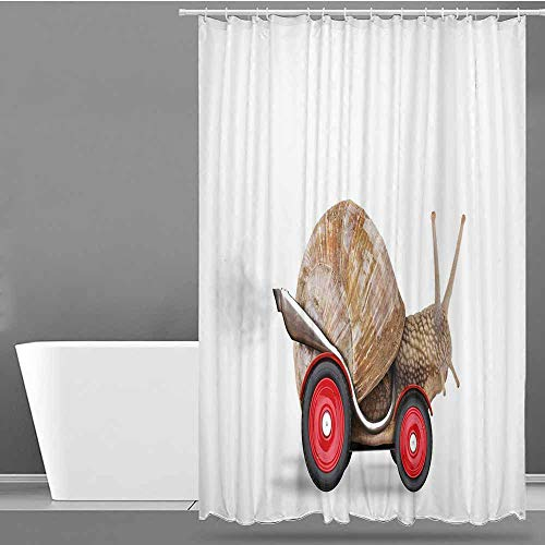 VIVIDX Shower Curtain,Funny,Speedy Snail Like Car Racer on Wheels Success Ambition Goal Creativity Concept,Shower Curtain with Hooks,W48x84L Umber Red White (Muppets On Wheels)