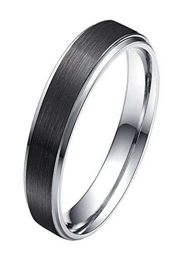 Titansten 6MM/8MM Stainless Steel Wedding Band Ring Black Brushed Matte Silver Step Edge Comfort Fit (Black(6mm), 7) Brushed Silver Step