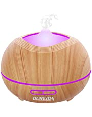 OUREIDA 400mL Aroma Essential Oil Diffuser Ultrasonic Cool Mist Humidifier Air Purifier with 7-Color LED Lights 4-Timer Waterless Auto Shut-OFF Adjustable Mist for Bedroom Home Office Yoga Spa.