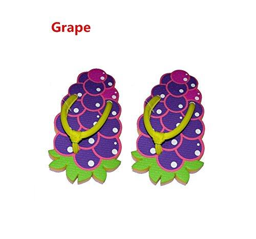 YYHSO Unisex flip flop conjunto de adultos - (juego de 2) zapatillas de la fruta de la historieta fresco / un tamaño 35-38 , orange grape