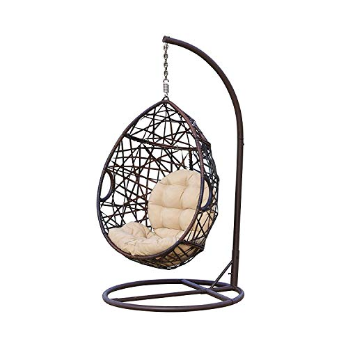 Egg-shaped porch hanging chair with stand