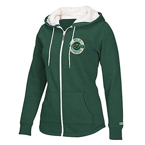 NHL Minnesota Wild Women's CCM Full Zip Plush Hoodie, X-Large, Green - Full Zip Hockey Hoody
