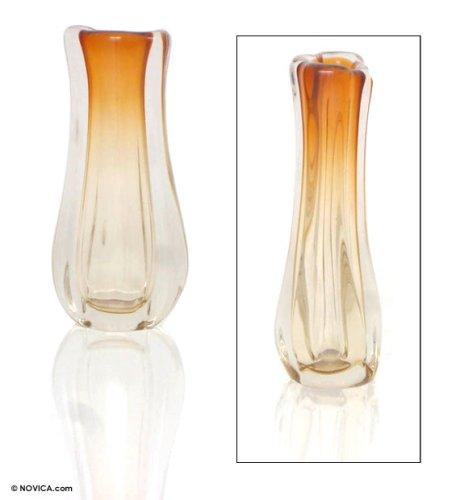 NOVICA Murano Blown Glass Vase, Yellow, 'Amber Ruffles' by NOVICA (Image #1)