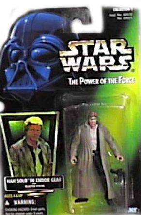 Green Card Figurki akcji i z filmów Star Wars The Power of the Force Han Solo In Endor Gear Zabawki