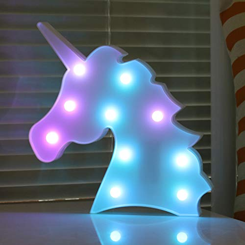 Color Changeable Unicorn Marquee Signs Unicorn Party Supplies, Fantasy Themed Wall Decor Desk Table Lamp Gift for Child Kids Baby Girls Bedroom Birthday (Unicorn Head - Colorful)