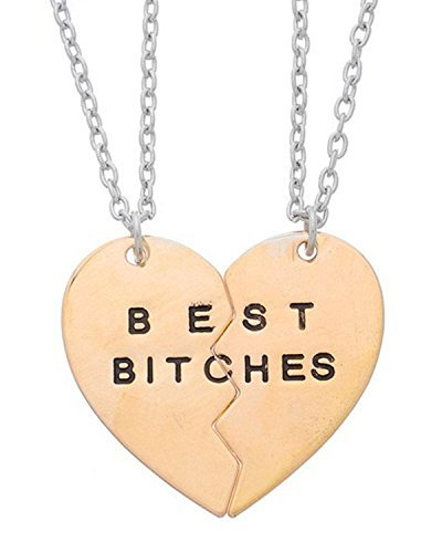 Young & Forever Women's Navratri Diwali Special Gold Toneden Best Bitches Friends Bff Heart Pendant Necklaces Silver Toned, Toned by Young & Forever